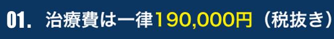 治療費は一律190,000円(税抜き) ワンピース・ツーピース同価格